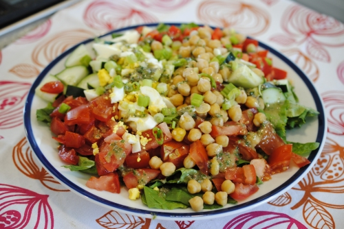 Spinach Cobb Salad with a Caper-Anchovy Vinaigrette
