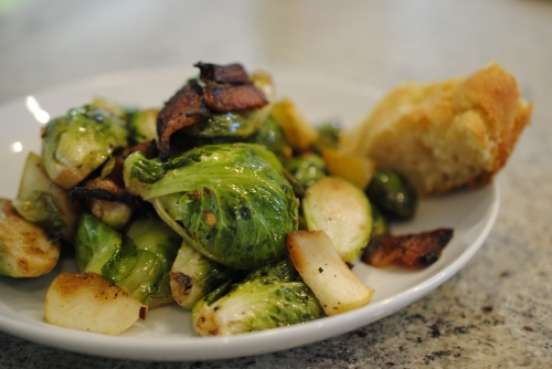 Balsamic Brussel Sprouts with Bacon & Green Apple